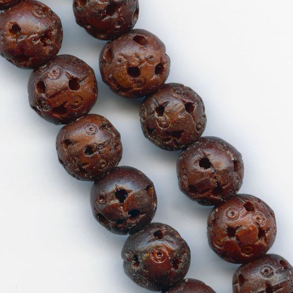 Chinese hollow carved and pierced wood beads, traditional Cantonese design, 10mm. Pkg of 6. b7-wo261