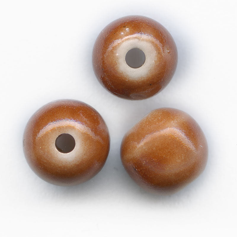 Vintage rosy terracotta white core glass rounds, Japan, 6mm, Pkg of 10. b11-br-0801(e)
