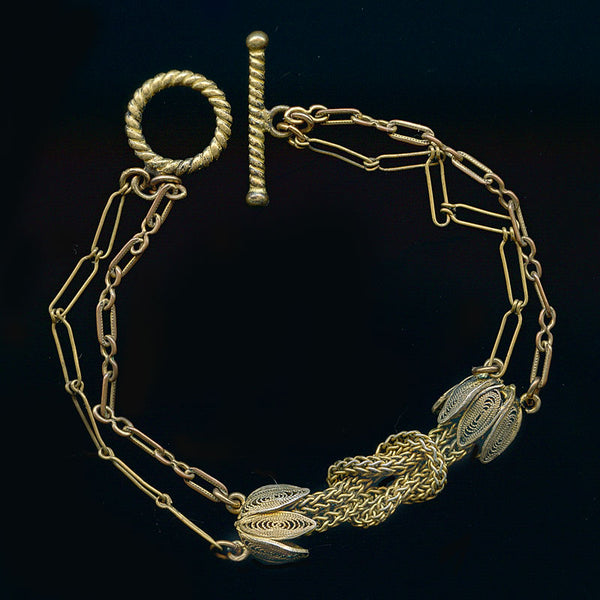 brch951(e)-Antique mixed watch chains bracelet