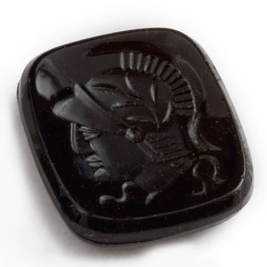 Vintage black glass warrior intaglio, 16x14mm Czechoslovakia, 2 pieces. b5-741(e)