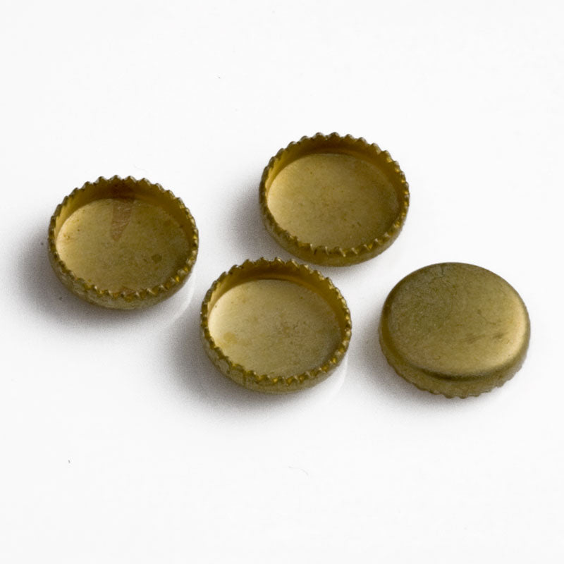 b9-2044-Brass bezel setting for a 4mm flat round cabochon, 10 pieces
