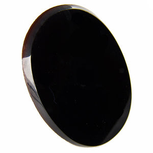 Vintage smooth jet glass cabochon France 1920s 34x26mm Pkg of 1. b5-727