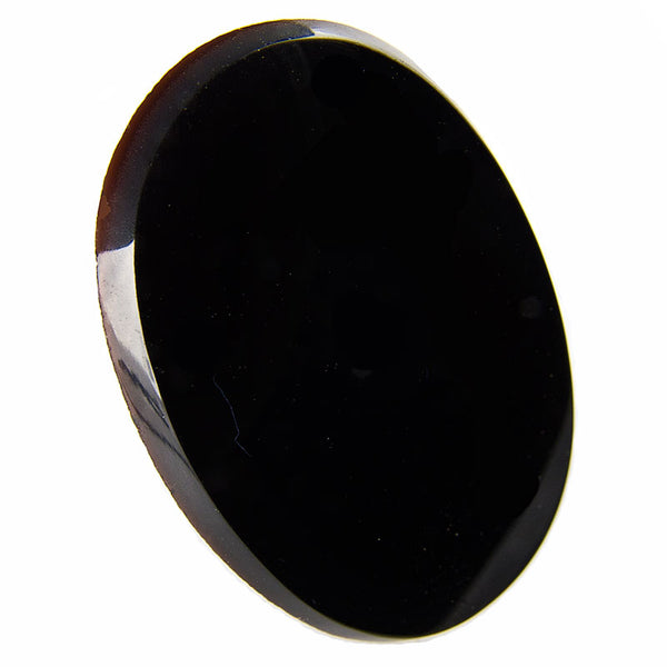 Vintage smooth jet glass cabochon France 1920s 34x26mm Pkg of 1. b5-727(e)