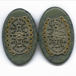 Art Deco marbled plastic with brass filigree overlay buckle 1930s. buad064