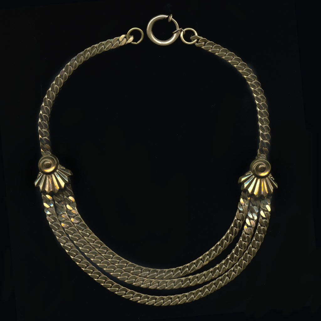 Fab Forties solid brass 3 strand herringbone chain necklace. nlch169cne