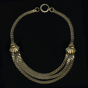 Fab Forties solid brass 3 strand herringbone chain necklace. nlch169