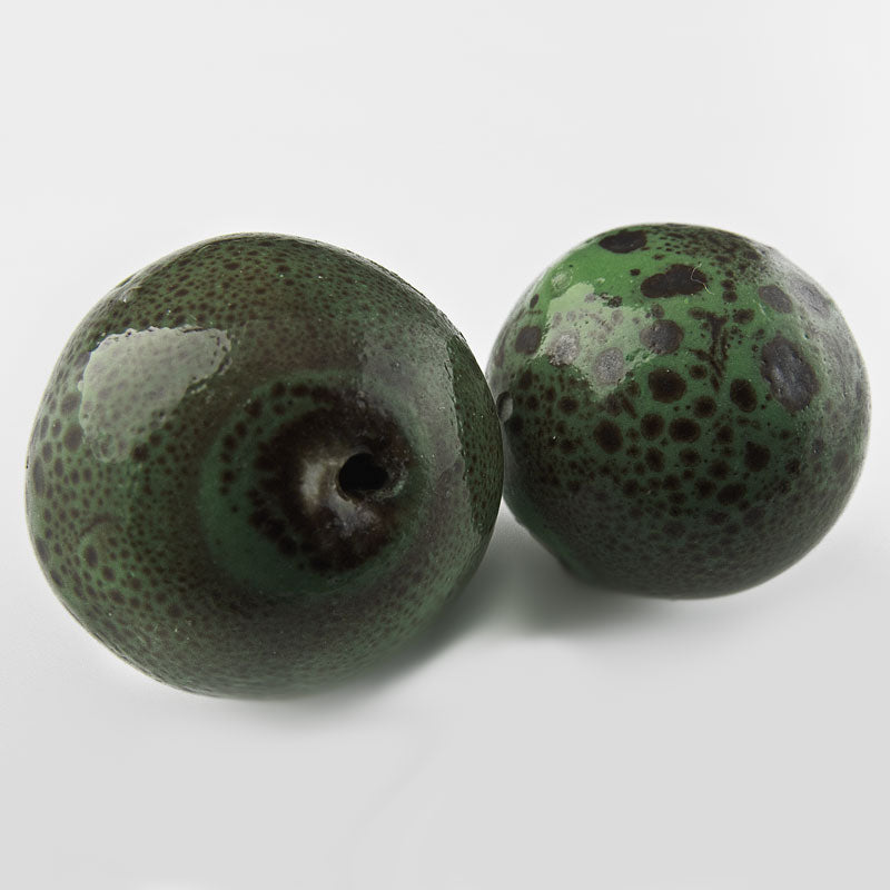 Large porcelain beads in green & brown mottled glaze 27mm 1 piece. b2-466(e)