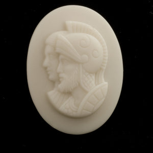 Vintage ivory matte glass warrior cameo cabochon 40x30mm West Germany 1 pc. b5-748(e)
