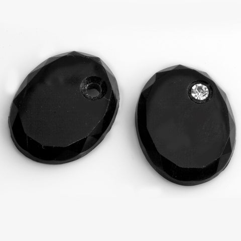 Old Bohemian beveled black glass flat oval cabochon with rhinestone setting 20x15mm 2 pcs. b5-755(e)