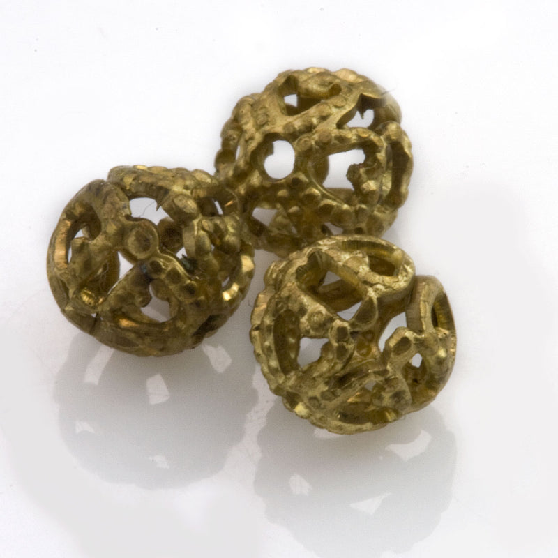 Vintage brass filigree beads, 7-8mm, 10 pcs. b18-0332-2(e)