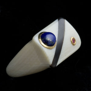 rgiv125-Carved pre-ban ivory ring with inlaid lapis, ruby, 14k gold and onyx size 7.5