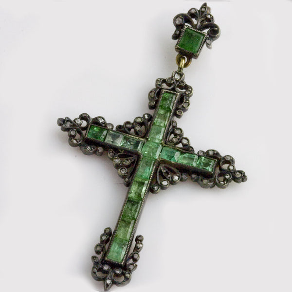 18th century European emerald, diamond and silver cross pdvs540gh(e)