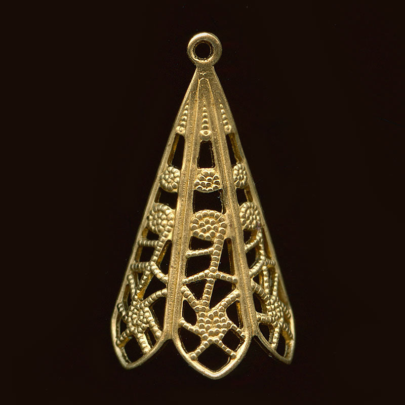 Solid brass dapped filigree chandelier pendant 25x13mm Pkg of 4. b9-1096(e)