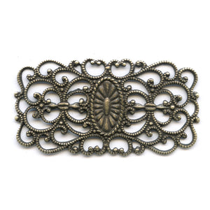 Oxidized yellow brass filigree from Germany 45x25mm 1 pc. B9-2069(e)