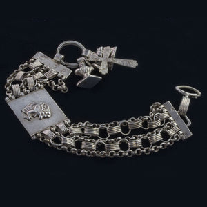 Antique 19th Century Dutch silver bracelet with charms. Hallmarked. brvs870
