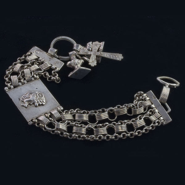 Antique 19th Century Dutch silver bracelet with charms. Hallmarked. brvs870(e)