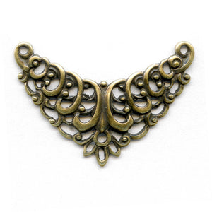 Oxidized yellow brass filigree lavaliere from Germany, 30x15mm. 1 pc. B9-2073