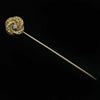 Antique Victorian stick pin 10k yellow gold beaded spiral with center diamond. skvc446