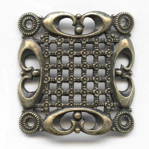 Oxidized yellow brass stamped filigree link from Germany 25mm sq. 1 pc. B9-2070(e)