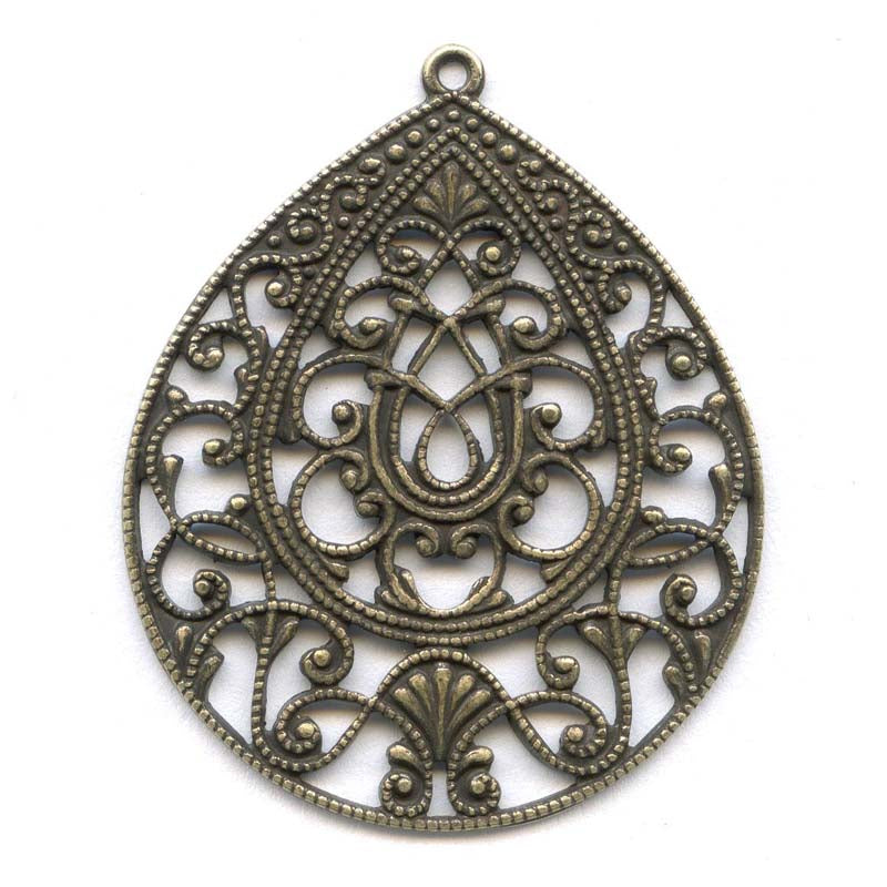 Oxidized yellow brass filigree from Germany 37x30mm 1 pc. B9-2067(e)