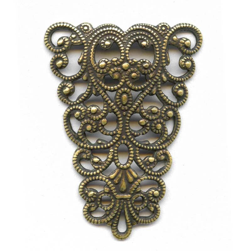 Oxidized yellow brass filigree from Germany 24x35mm 1 pc. B9-2064(e)