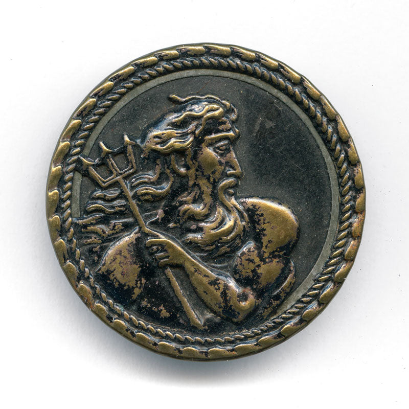 Antique stamped brass large picture button, Poseidon with trident 1-3/8 inches. btvc269