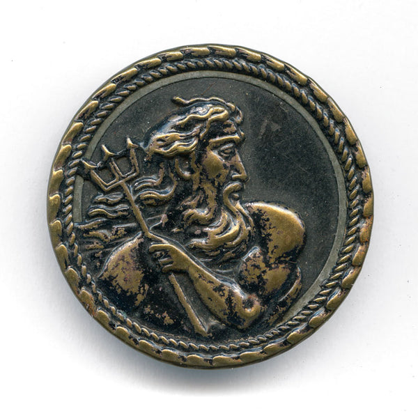Antique stamped brass large picture button, Poseidon with trident 1-3/8 inches. btvc269(e)
