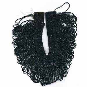 b14-610-Fabulous jet glass and black velvet beaded fringe collar or cuff