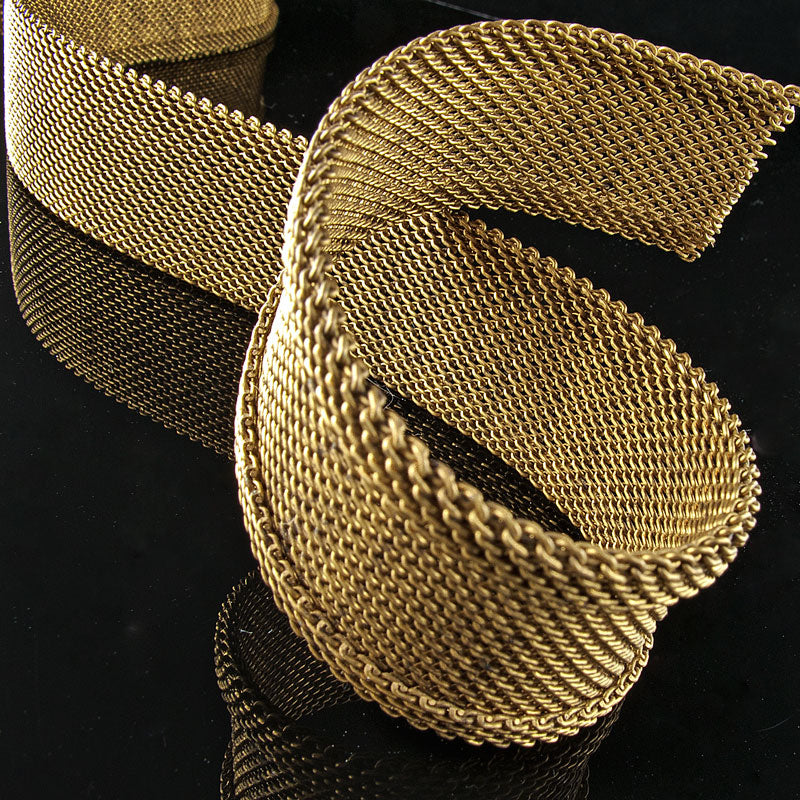 25mm brass mesh chain with folded edges 1ft. length. b12-chn600