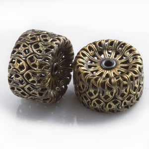 Oxidized brass filigree tire shaped bead 18x12mm 1 pc. b18-0321-1(e)