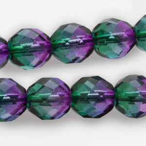 Contemporary Czech firepolished 10mm rounds in emerald and violet. Package of 10. b11-gr-1058(e)