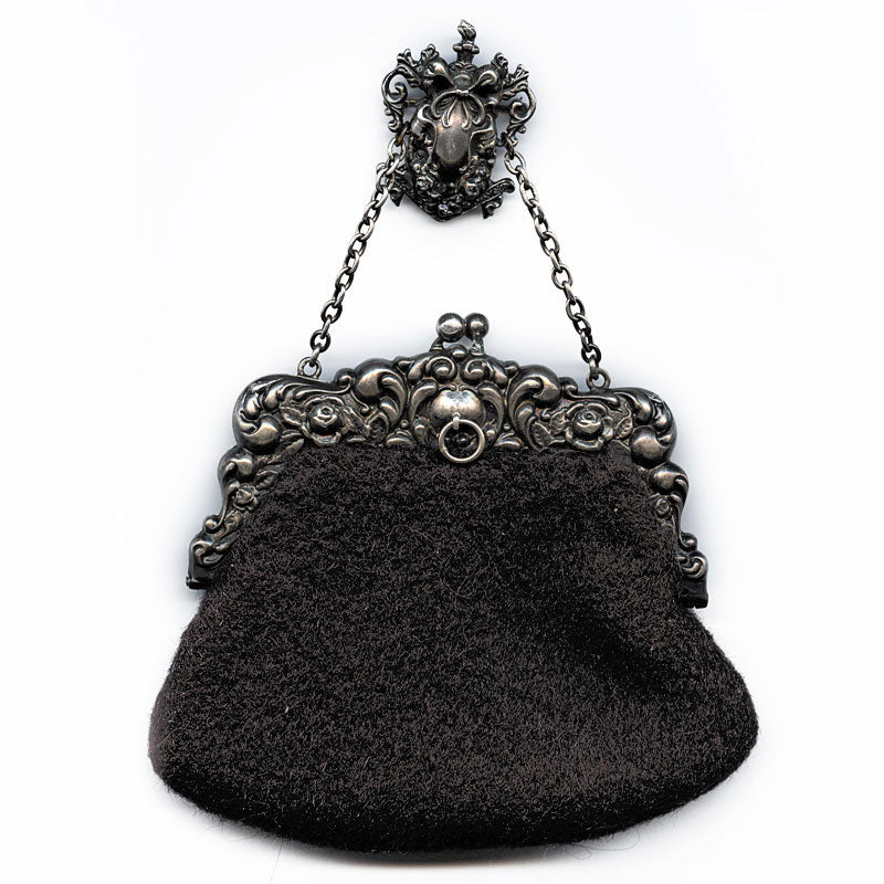 hbvc709(e)-Victorian sterling silver repoussé and fabric chatelaine purse Blackinton hallmark