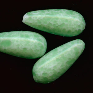 1920-30s Bohemian glass mottled green teardrop bead, 13x5mm Pkg of 4. b11-gr-1048