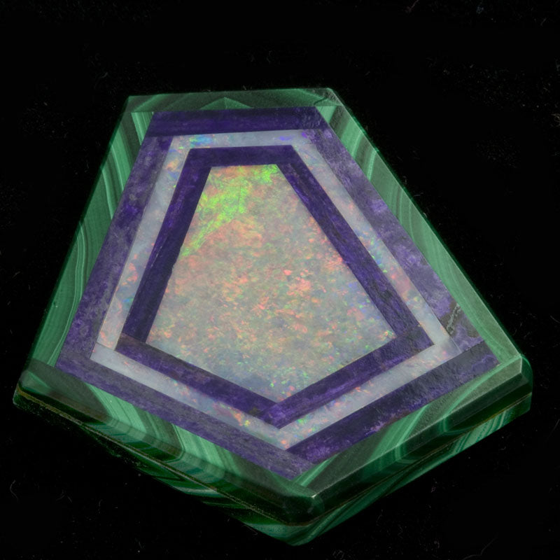 Beautiful kite shaped opal, sugalite and malachite intarsia 33.50 x 32.00mm. pdfn119