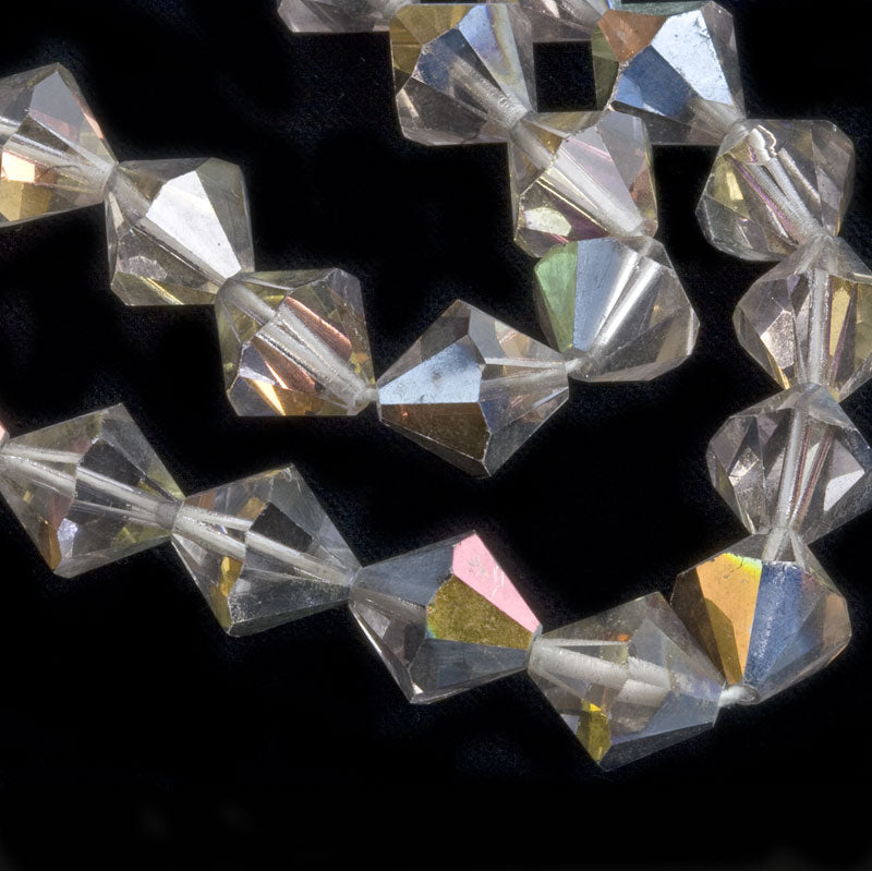 Vintage tin cut clear crystal faceted bicones with partial AB finish, Czechoslovakia, 1950-60s 12mm Pkg of 6. b11-cr-0860(e)