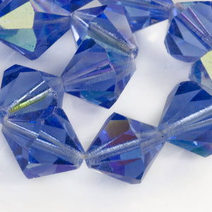 Vintage tin cut sapphire blue faceted bicones with partial AB finish, Czechoslovakia, 1950-60s. 12mm. Pkg of 6. b11-bl-1178