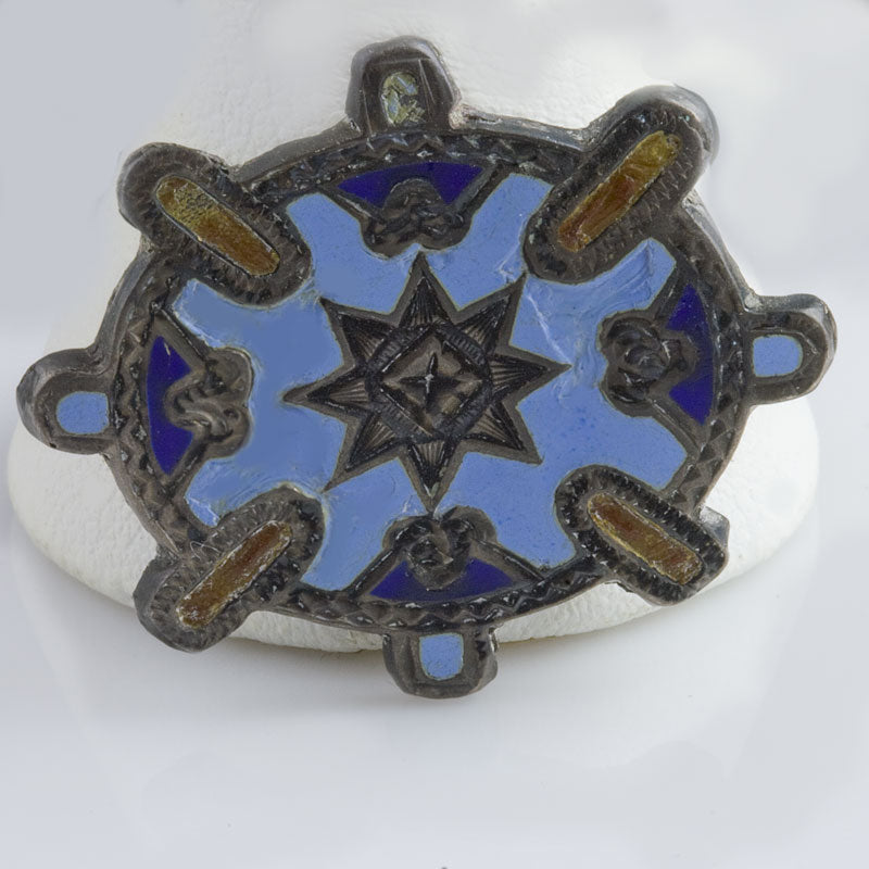 Antique petite enamel and silver Victorian pin. pnvc1044
