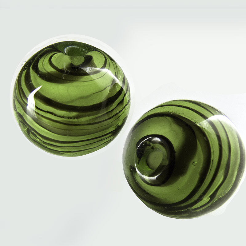 Contemporary lampwork rounds of yellow-green glass with brown web under clear glass, 16mm. Package of 2. b11-gr-1061(e)