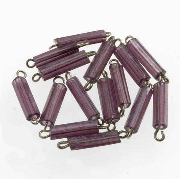 Vintage amethyst 5-sided glass bugles on fine silver wire. 13x2mm 25 pcs. b11-pp-1047(e)