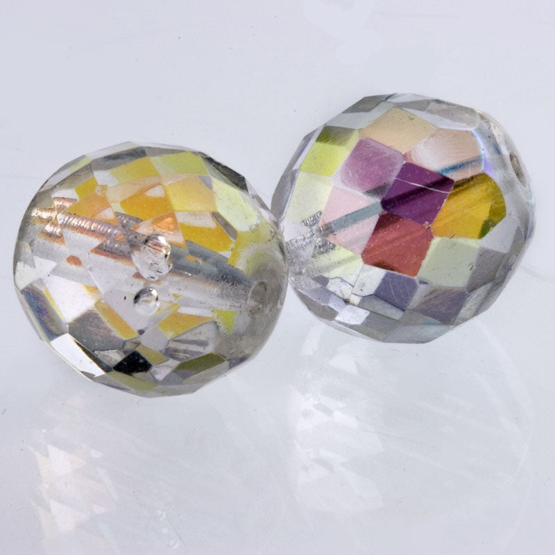 Contemporary Czech fire-polished faceted glass rounds in AB crystal 15mm 4 pcs. b11-cr-0861(e)