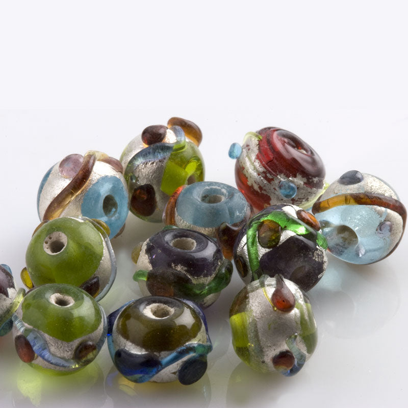 Contemporary multi colored glass rounds with fancy glaze. 6x8mm Pkg of 25. b11-mi-1166(e)