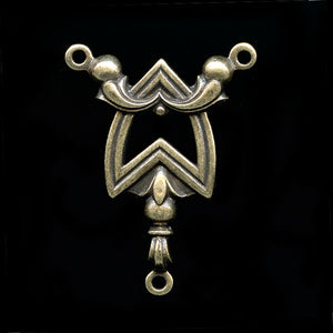 Art Deco style oxidized brass lavaliere 25x20mm 1 pc. b9-2085