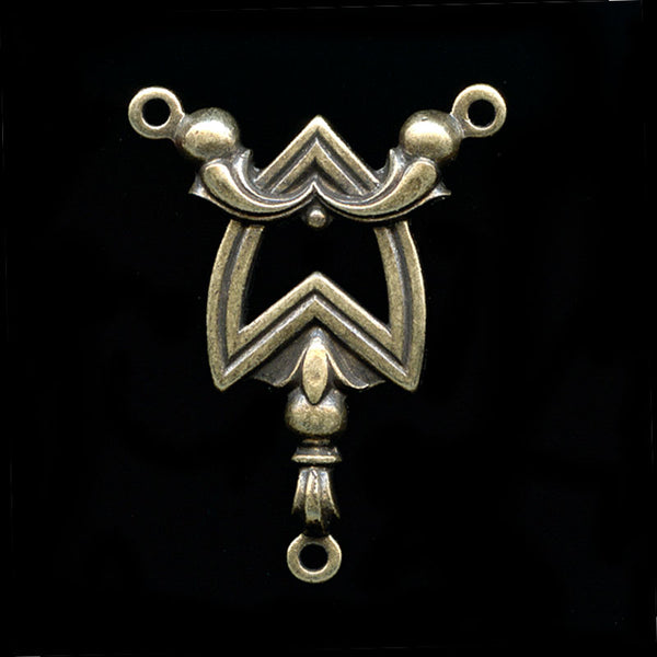 Art Deco style oxidized brass lavaliere 25x20mm 1 pc. b9-2085(e)