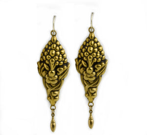 Vintage hollow work gilded silver earrings from Portugal. ervn891