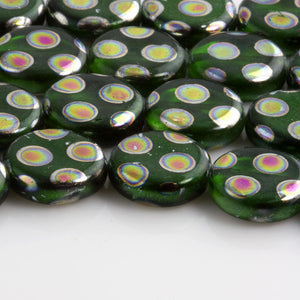 Contemporary green peacock glass disk beads, Germany, 11mm 5 pcs. b11-gr-1062