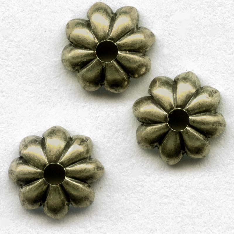 Oxidized brass bead cap petal design 6mm, 6 pcs. b9-2095(e)
