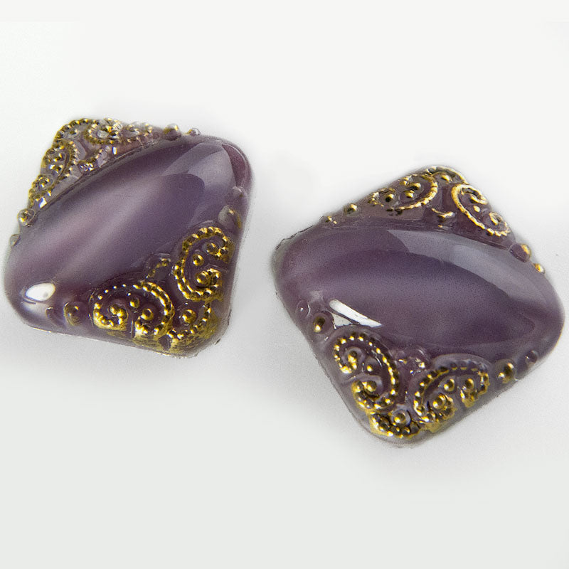 Vintage purple satin glass 11mm square cabochons with gilded edges Czechoslovakia. 2 pcs. b5-787(e)