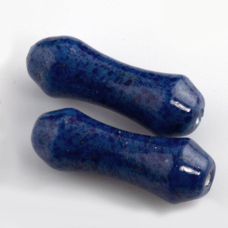 Vintage lapis glass dogbone shaped beads, Japan 20x6mm. 4 pcs. b11-bl-1184(e)