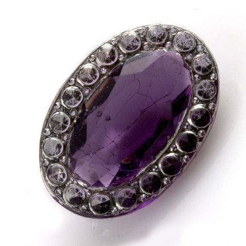 Art Deco Bohemian amethyst glass rounded back stone, 16x12mm.1 pc. b5-793(e)