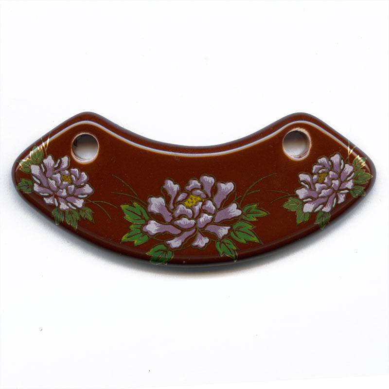 Vintage painted ceramic pendant. Floral pattern on dark brick red. 80x25mm. B2-479(e)